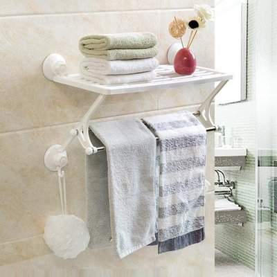 吸盤雙層毛巾架免打孔浴巾架 吸壁式毛巾掛架毛巾桿置物架  igo