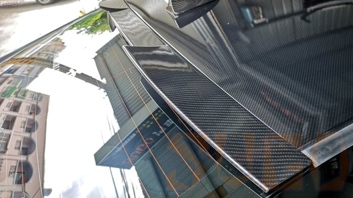SUGO汽車精品 本田HONDA CIVIC 9/9.5代/喜美九代 專用黑碳卡夢水轉印 貓耳後遮陽
