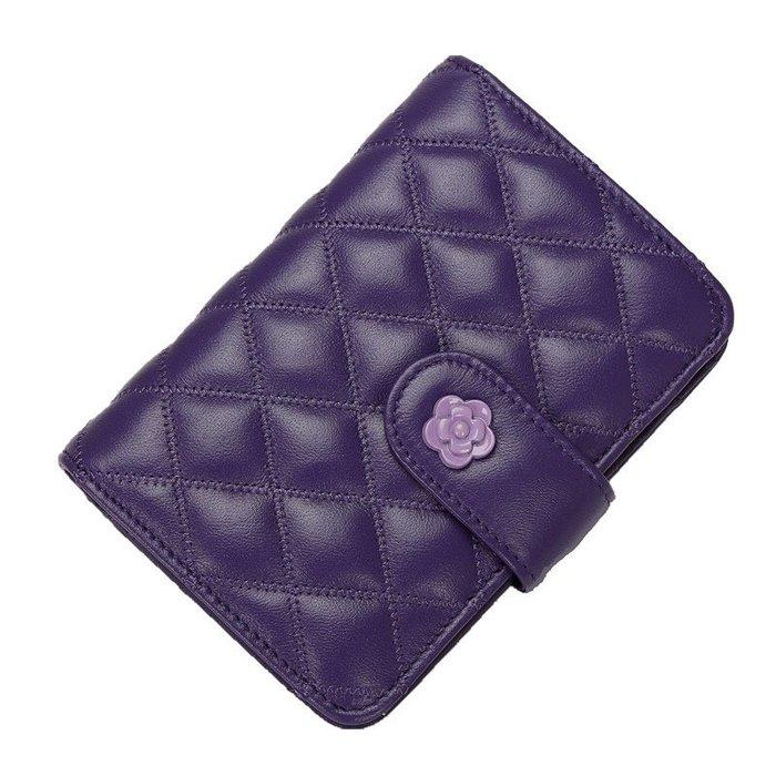《現貨》紫/藍/黑三款 優質羊皮短款菱格錢包 三折式搭扣零錢包 拉鍊零錢包卡包 HA086 交換禮物 聖誕禮物 生日禮物