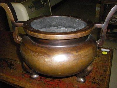 陶木屋  石叟款 嵌銀絲官帽銅爐  重5.7 公斤高30 直徑33 公分