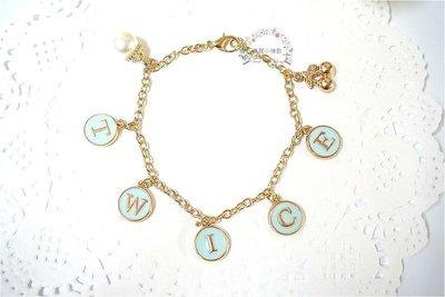 【首爾小情歌】TWICE 韓國女團 周子瑜 周邊 珍珠吊飾玫瑰金色手鍊。藍色字母圓形 櫻桃 吊飾手環 手鍊 古典 飾品