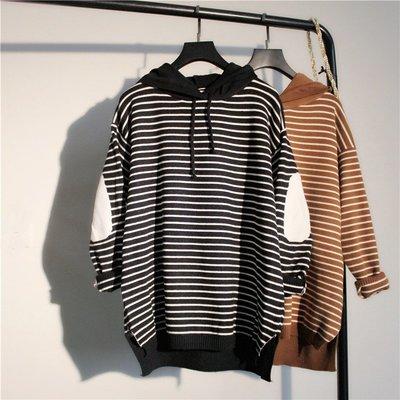 《 HelloMiss 》秋冬 韓版 寬鬆 連帽 黑白條紋 長袖 毛衣