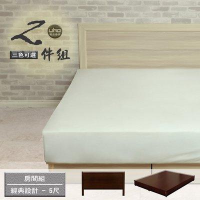 床組【UHO】經典設計5尺雙人二件組 (床頭片+簡易床底) 中彰免運 雙11促