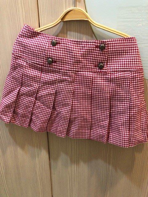 小花別針、專櫃品牌【Knights Bridge】紅色短裙百褶裙