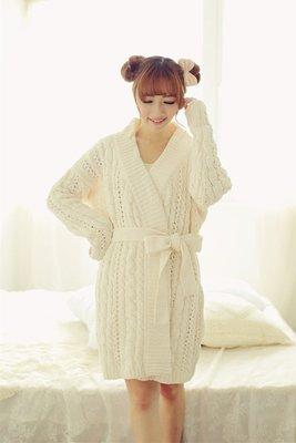 ❀蘇蘇購物館❀2015秋冬 甜美镂空鈎花高端針織女士睡袍