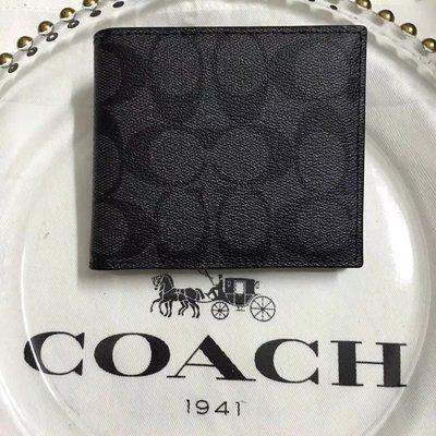 琪琪Outlet代購 Coach 75006 新款男士短夾 內置零錢袋 Logo防刮皮革多功能皮夾 附購買憑證