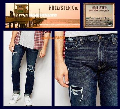 Hollister 美國【現貨】32吋 窄管 牛仔褲 Skinny Destroyed Wash