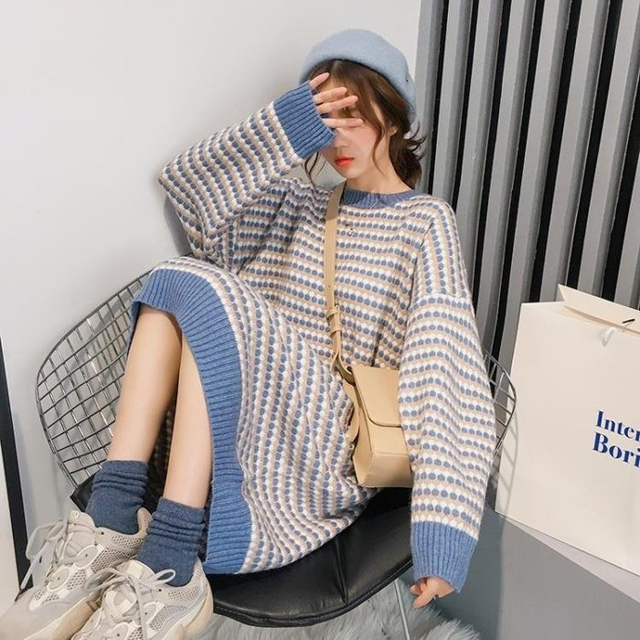 套頭毛衣女長款過膝寬鬆初秋溫柔風針織連身裙2色
