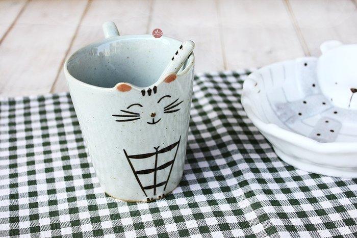 馬克杯_貓咪笑顏(高款)附攪拌棒_B081-008B◎馬克杯.貓咪.陶瓷.杯子