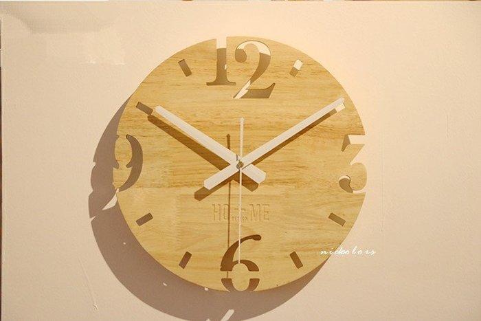 尼克卡樂斯~北歐實木掛鐘[縷空款] 靜音時鐘 工業風掛鐘 歐洲鄉村風時鐘 客廳時鐘 臥室時鐘 壁掛鐘