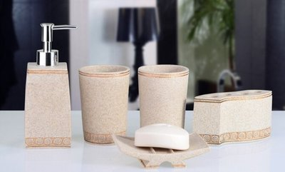 『格倫雅品』創意浴室洗漱用品新婚禮物衛浴五件套 歐式地中海衛浴套裝