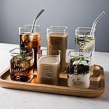 【高款】方形 玻璃杯 耐高溫 金色 字母玻璃杯 咖啡杯 果汁杯 創意 早餐杯 字母 水杯 星巴克 星巴克杯【窩窩宅】