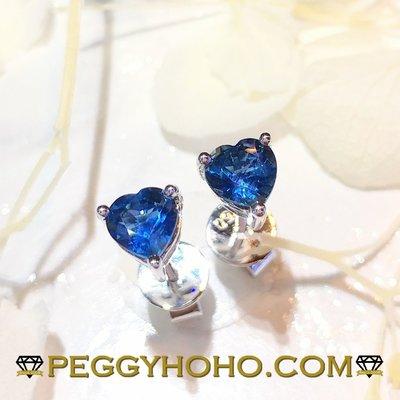 【Peggyhoho】 全新18K白金97份心形藍寶石耳環| heart saphhire | 極罕心形藍寶石