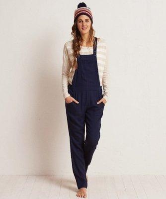 美國老鷹女裝AERIE SOFT TWILL OVERALL 深藍S號超級柔軟輕巧吊帶褲含運
