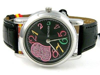 (六四三鐘錶精品店)貝多芬(真品)豪華愛心型面盤珠寶石英錶...黑面盤黑色錶帶