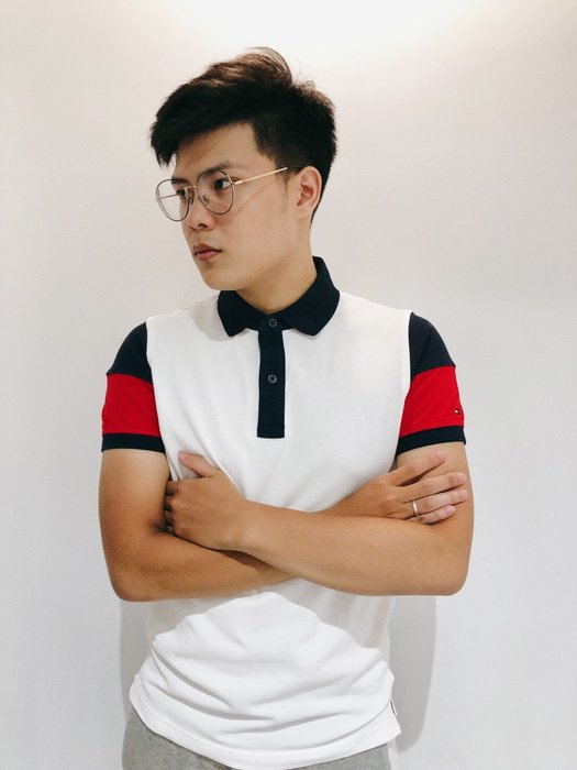 【蟹老闆】TOMMY HILFIGER 100%正品 男POLO衫 袖子藍紅 白色