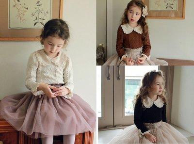 ✽秋裝新品✽韓版中大童女童純色花邊翻領波浪緹花娃娃衫/長袖上衣