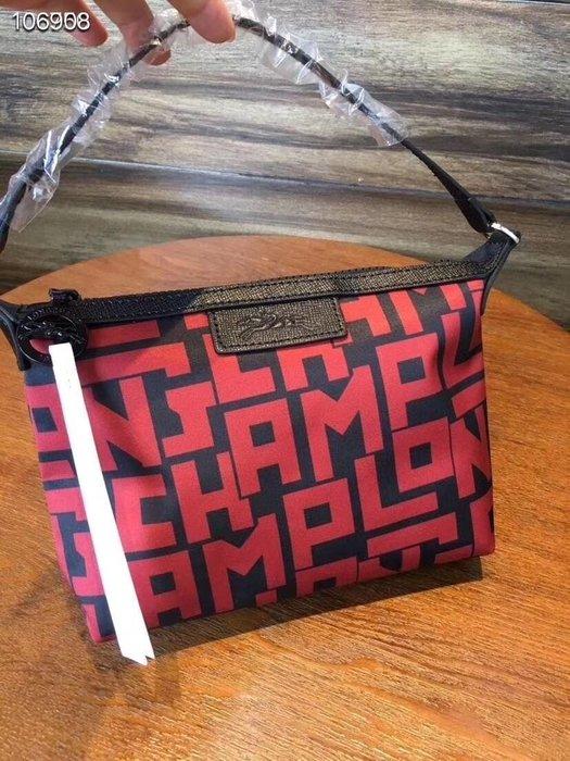 現貨 新款 紅色 LONGCHAMP LGP 字母 手提手拿包 肩背包 手提包 輕便 防水 加厚尼龍拼接皮革 耐用 限量優惠