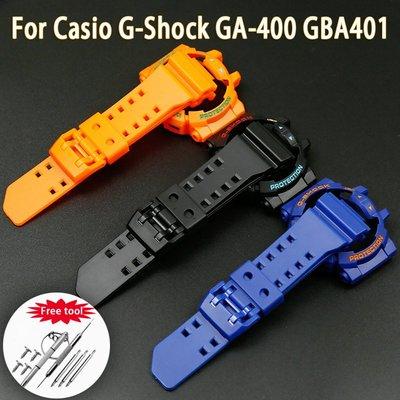 帶有錶殼螺絲和工具的矽膠套橡膠錶帶用於卡西歐G-SHOCK GA-400 GD-400 GBA401手錶配件 台北市