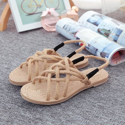 夏季度假新款復古羅馬平底涼鞋波西米亞民族風手工麻編女鞋沙灘鞋