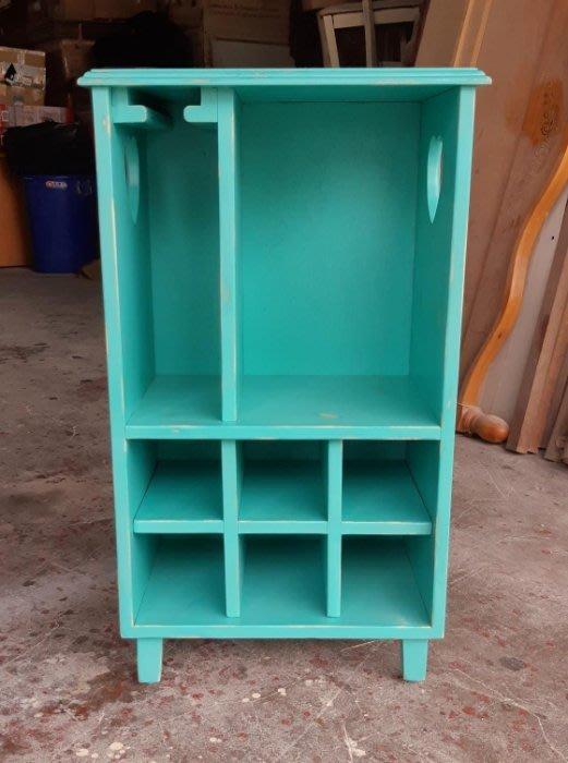 【現貨限量品】美生活館 全新紐松原木 心型 紅酒 酒杯 收納櫃 置物櫃 廚房 餐廳客廳-- 刷舊感 藍綠色