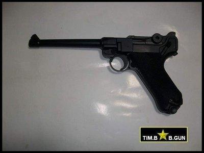 (生存遊戲6MM BB槍全民槍戰CS)~再降價二戰德軍官全金屬版魯格精選6吋黑色瓦斯槍(另有4吋及8吋)