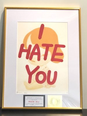 DeathNYC 奈良美智Nara I HATE YOU版畫 Death NYC 全世界限量一張