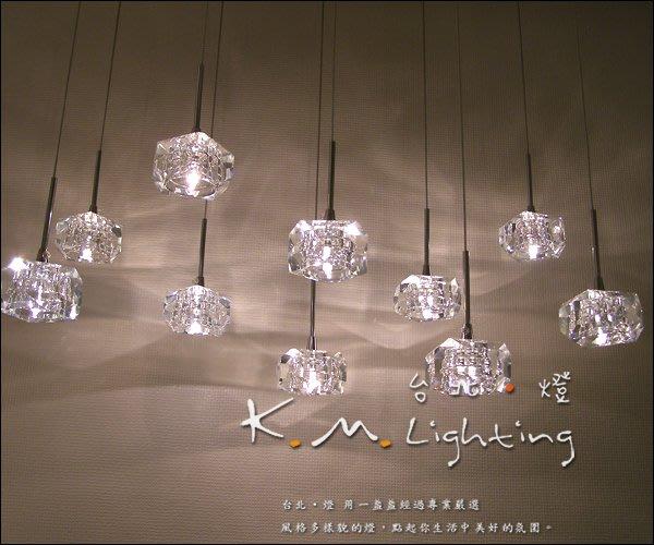 【台北點燈】KM-775 精緻絕倫 晶透水晶塊吊燈 附光源 餐廳水晶吊燈 走道燈 玄關燈 單燈 可訂製盞數