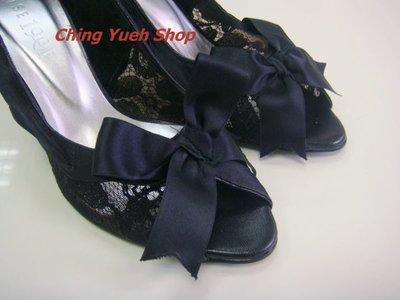 °☆ 珮齊精品舖 ☆° SENSE 1991名媛款~ 黑色蝴蝶結露趾高跟鞋  便宜出清