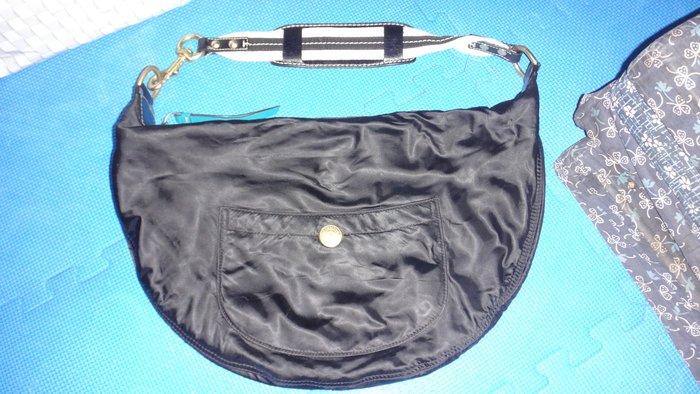 ~保證真品 Coach 黑色真皮和尼龍布款肩背包 大半月包 手提包~便宜起標無底價標多少賣多少