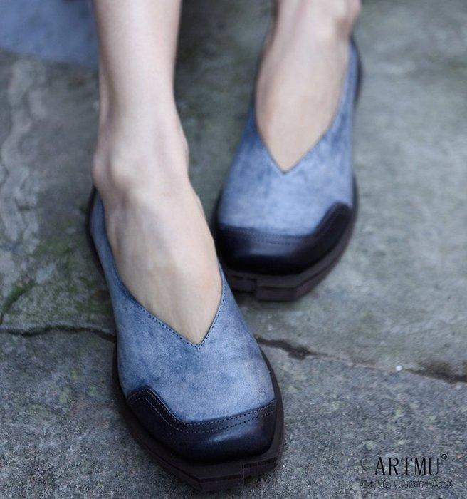 【子芸芳】原創復古淺口單鞋平底百搭休閒鞋真皮
