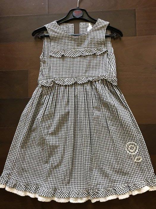 專櫃正品 jacadi 經典斷貨款黑白格紋泡泡布+貝殼扣小洋裝-8A/128cm-低價起標