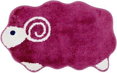 【玫瑰物語】紅色綿羊超細纖維踏墊立體 門墊40x60cm咖啡色兒童羊咩咩動物墊子紫色