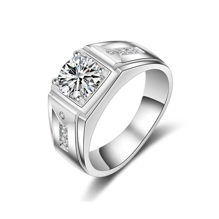 衣萊時尚-純銀克拉男士霸氣戒指 純銀鍍鉑金復古仿真鉆戒男戒指環結婚戒指