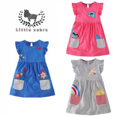 ✪現貨✪ 歐美童裝 純棉洋裝 連衣裙 公主裙 女童洋裝 中小童 春夏洋裝 荷葉飛袖 百搭灰色/紅色/藍色貼布 童裝 洋裝