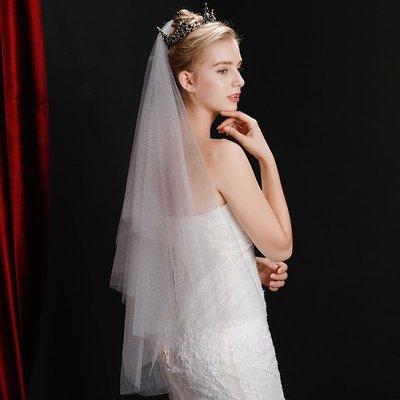 頭紗閃亮短款婚紗新娘搭配鉆頭飾硬紗簡約超仙美蕾絲邊韓式拖尾女#毛披肩#小外套#禮服披肩#韓版超會購