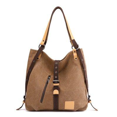 肩背包帆布手提包-大容量多背法皮帶扣休閒女包包5色73wa7[獨家進口][米蘭精品]