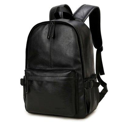 黑色 韓版PU皮防水後背包 男雙肩書包 可放14吋筆電 【橙色年代】