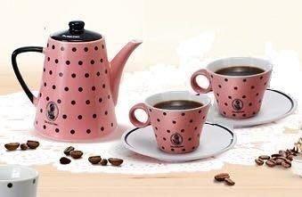 ~**粉紅魚兒**~ 全家【 Lets Cafe 伯朗咖啡館 DAZZLING 華麗午茶茶壺 +杯盤套組 】- 粉色