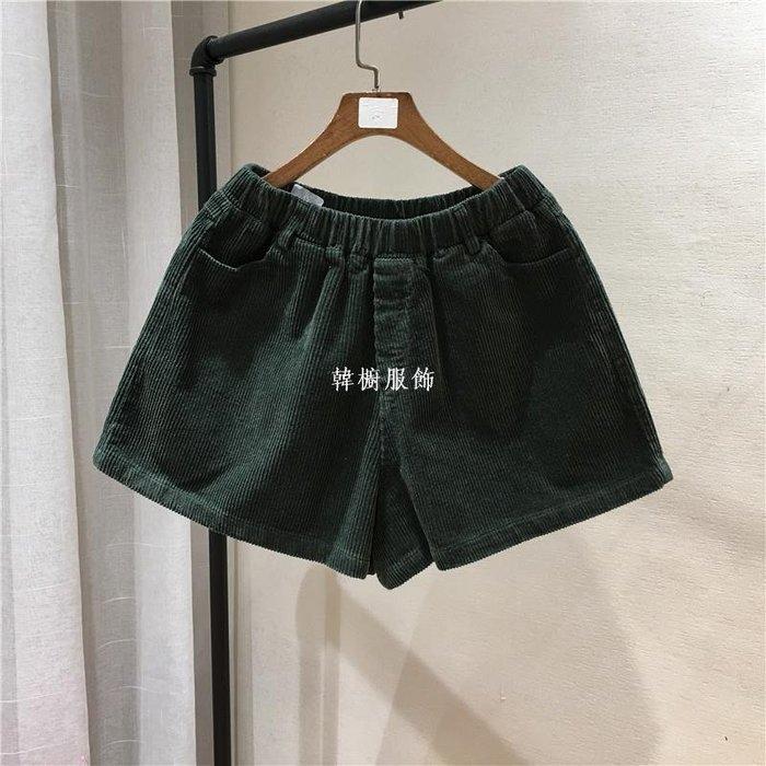 韓櫥服飾光板闊腿褲直筒松緊腰圍寬松bf燈芯絨學生多色休閒短褲 女125褲子