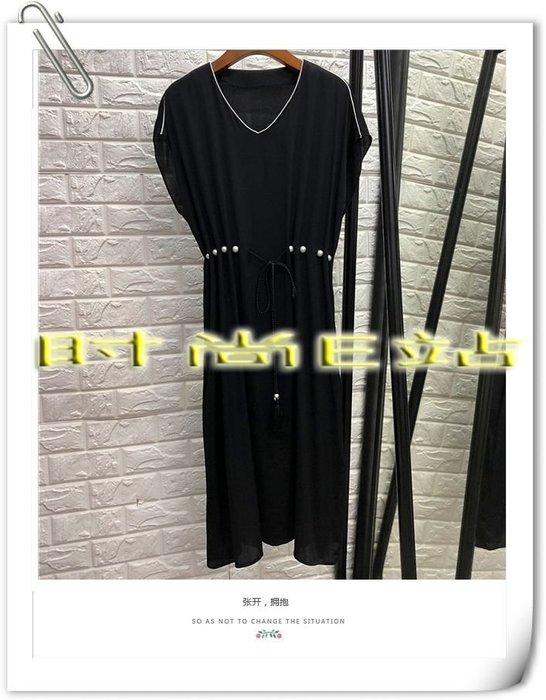 時尚E站【~SSEZ~】7117063058 時尚V領穿珍珠腰帶修身長洋裝