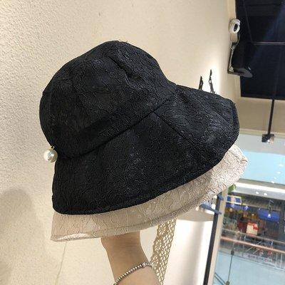 漁夫帽 盆帽-大帽簷蕾絲繡花純色女帽子4色73xu15[獨家進口][米蘭精品]