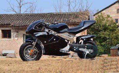 【迷你GP小機車】最新款 4行程汽油引擎 後避震器 迷你摩托車 小跑車 小摩托車 小GP 迷你賽車 黑色 4-1