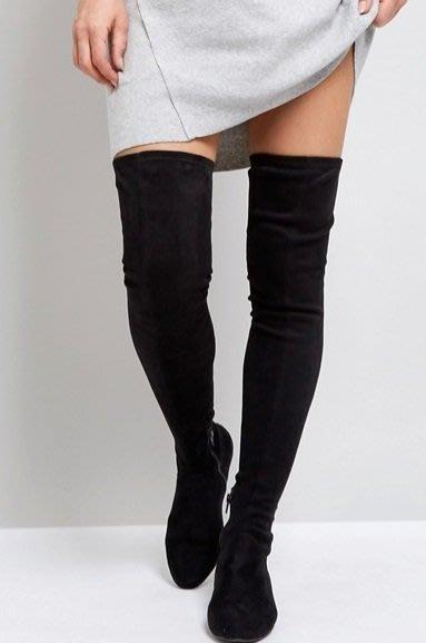 ◎美國代買◎ASOS細綁綁帶設計修飾小腿顯廋設計stuart weitzman激似款麂皮過膝長筒平底靴~歐美街風~大尺碼