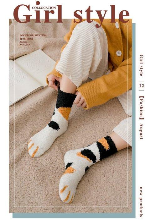 【貓咪爪子毛襪】 KG0011 貓爪毛襪 貓爪襪 貓咪襪子 日韓襪子 可愛毛襪 貓紋襪 貓掌中筒襪