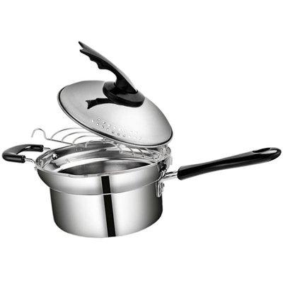 小油炸鍋日本不銹鋼不粘鍋寶寶牛奶鍋拌面條鍋輔食鍋小油炸鍋多功能鍋