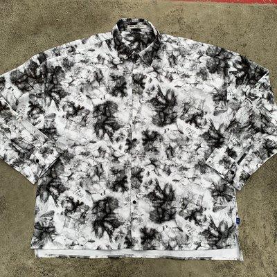 【inSAne】 韓國購入 / 花襯衫 / 紮染 / 渲染 / 長襯衫 / 單一尺寸 / 黑白