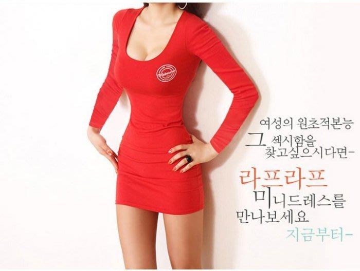 [現貨] 韓國㊣訂單 正紅色 *顯膚白* 字母印花 修身緊身包臀性感連身裙貼身長T.長版上衣.棉T恤