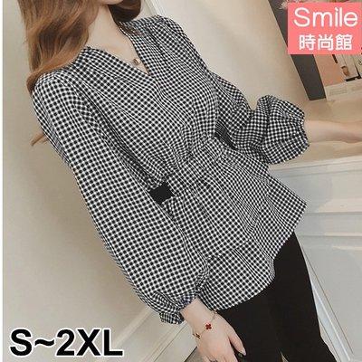 【V2758】SMILE-秋意美序.格紋V領鬆緊腰泡泡袖上衣