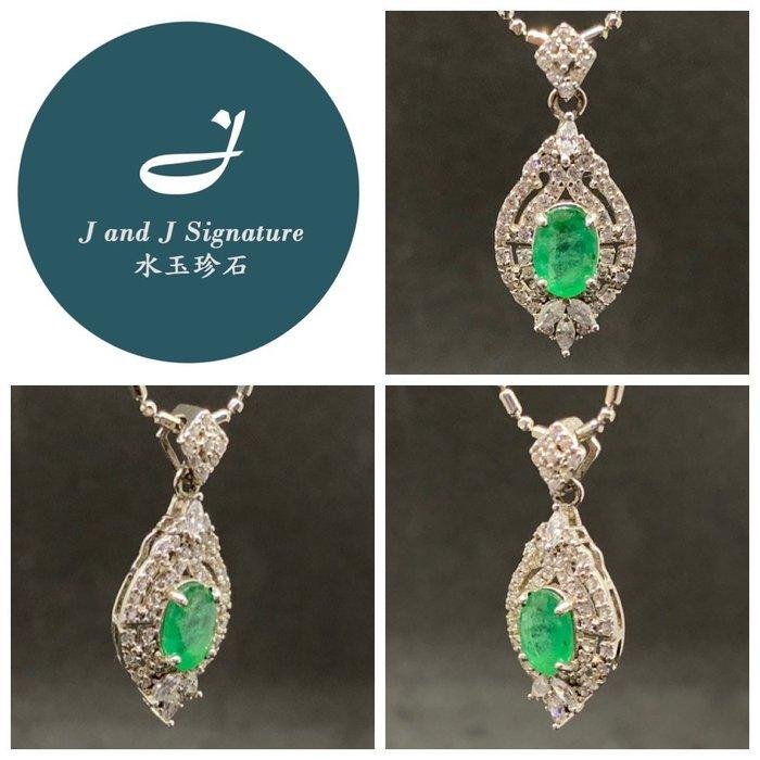 【水玉珍石】保證A貨!祖母綠寶石,搭配925銀造型設計墜飾項錬。現貨實拍圖*